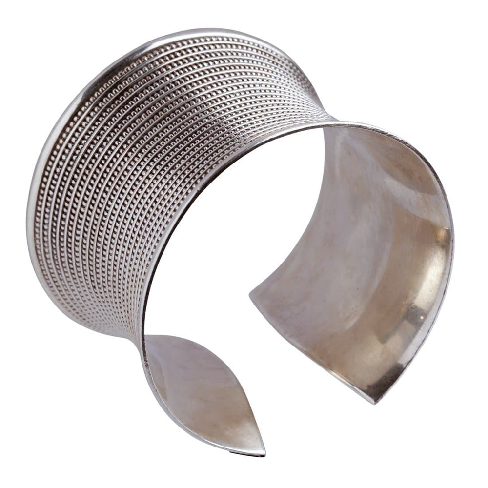Silver Gladiator Wide Cuff Bangle