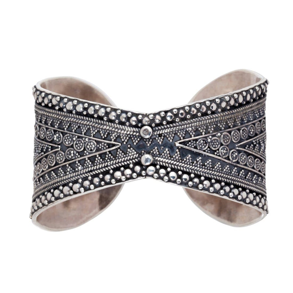 Load image into Gallery viewer, Silver Tribal Wide Cuff Bangle - 81stgeneration