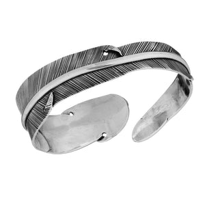 Sterling Silver Feather Adjustable Cuff Bangle