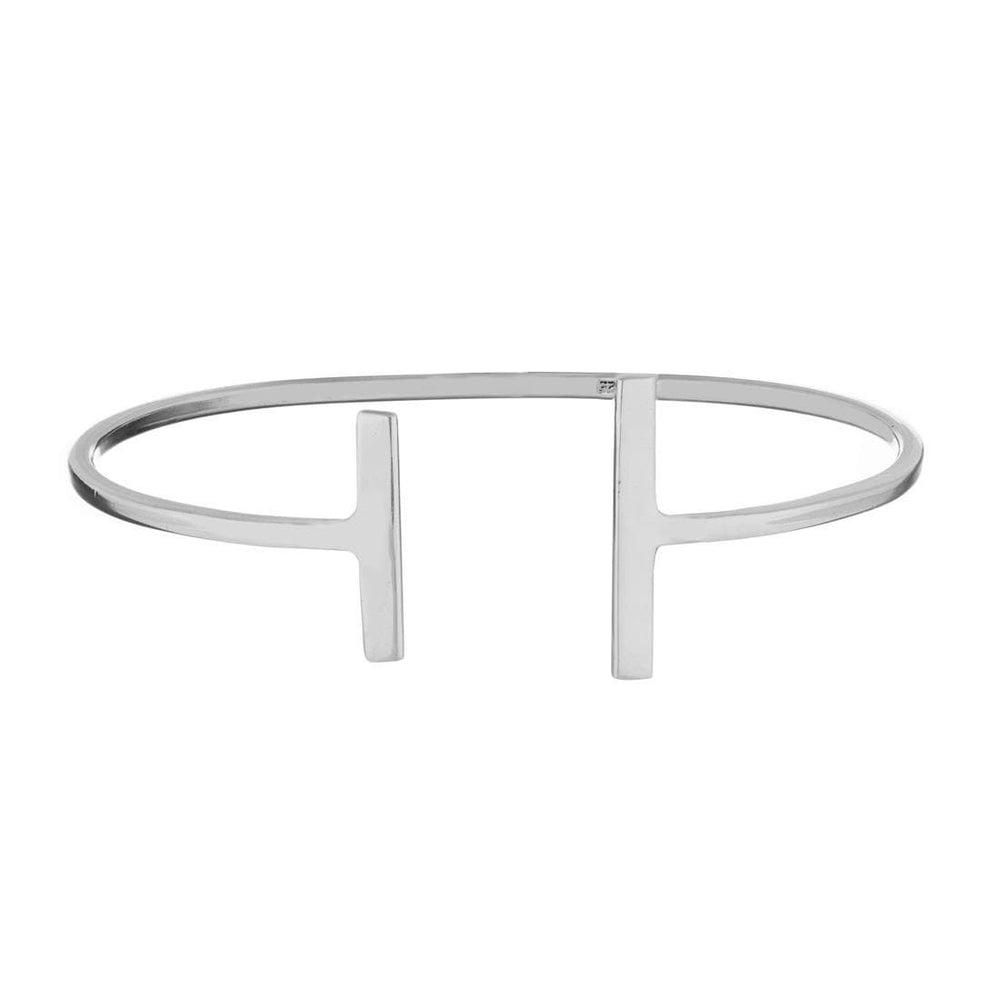Sterling Silver Double Bar Adjustable Bangle
