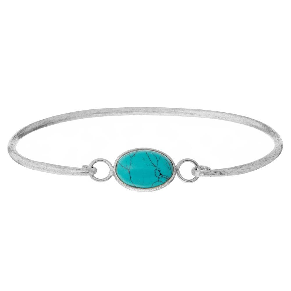 Brushed Sterling Silver Turquoise Bangle