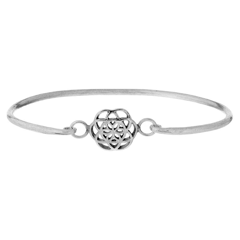 Brushed Sterling Silver Seed of Life Bangle