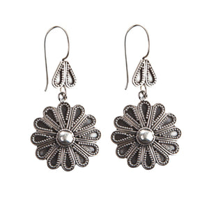 Load image into Gallery viewer, Sterling Silver Flower Tribal Drop Earrings
