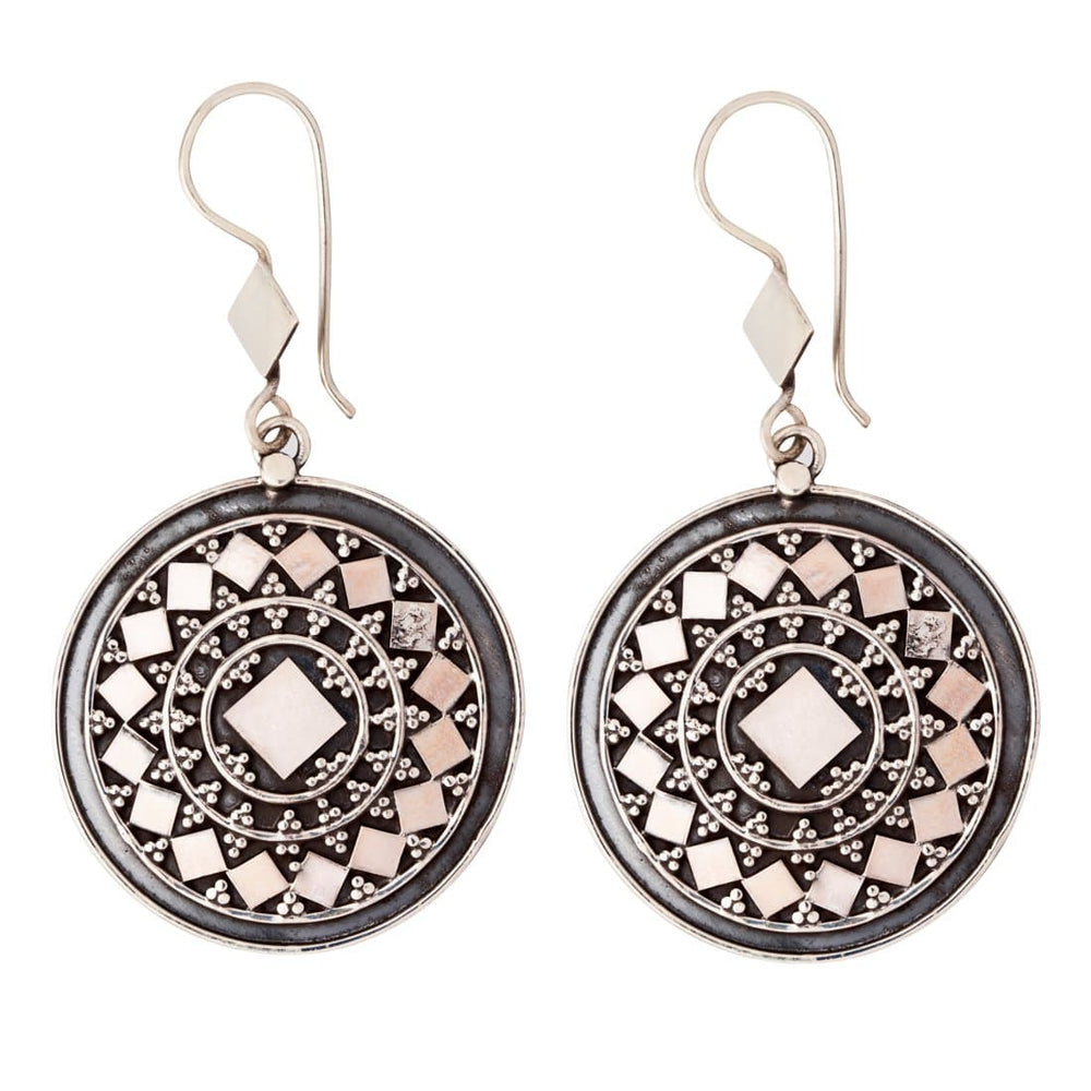Sterling Silver Round Disc Tribal Hoop Earrings - 81stgeneration