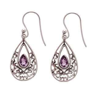 Sterling Silver Filigree Teardrop Amethyst Hoop Earrings - 81stgeneration