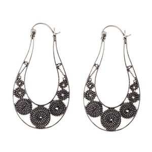Sterling Silver Oval Rope Design Tribal Hoop Earrings