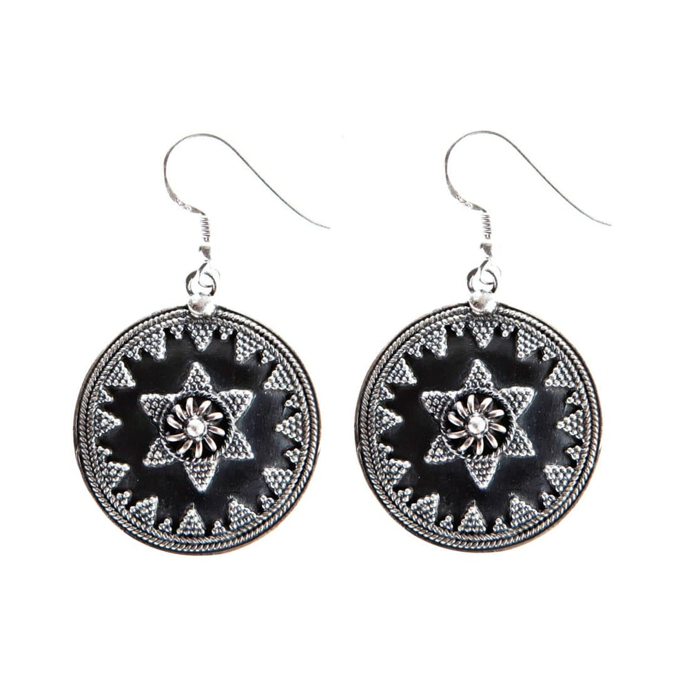 Sterling Silver Round Disc Tribal Hoop Earrings