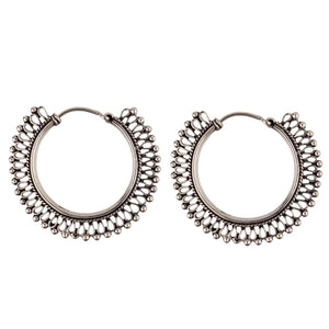 Sterling Silver Indian Filigree Tribal Hoop Earrings