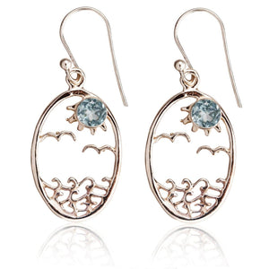 Sterling Silver Small Oval Topaz Ocean Sun Earrings