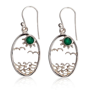 Load image into Gallery viewer, Sterling Silver Small Oval Emerald Ocean Sun Earrings