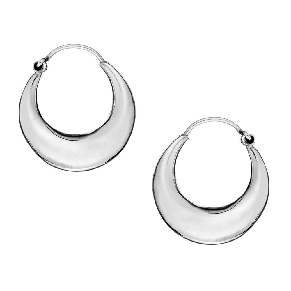 Sterling Silver Chunky Creole Sleeper Hoop Earrings