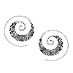 Sterling Silver Leaf Spiral Threader Earrings