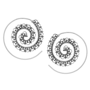 Sterling Silver Intricate Dotwork Spiral Threader Earrings