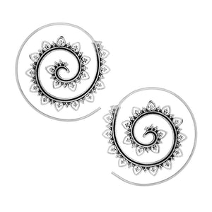 Load image into Gallery viewer, Sterling Silver Tribal Style Dotwork Spiral Threader Earrings