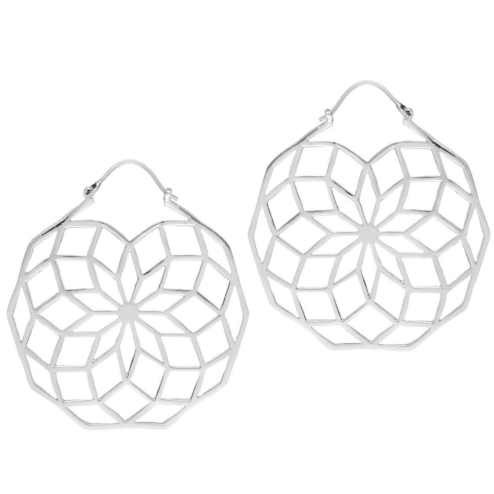 Sterling Silver Large Flower of Life Decagon Dangle Earrings