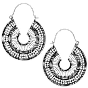 Load image into Gallery viewer, Sterling Silver Egyptian Style C-Shape Dotwork Earrings