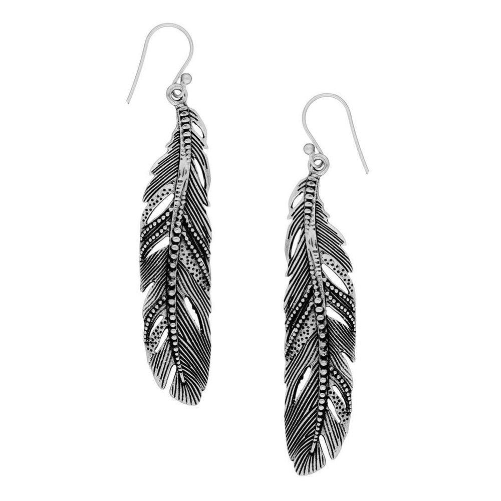Sterling Silver Long Detailed Feather Dangle Earrings