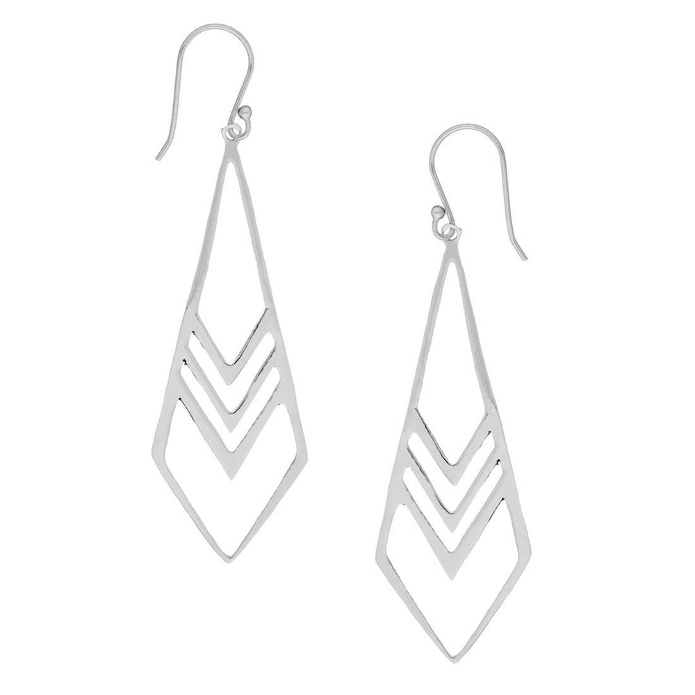 Load image into Gallery viewer, Sterling Silver Long Art Deco Style Dangle Earrings