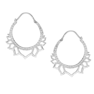 Sterling Silver Cut Out Lotus Flower Hoop Earrings