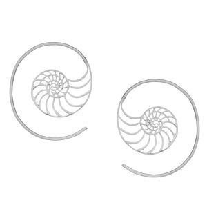 Sterling Silver Seashell Golden Ratio Spiral Threader Earrings