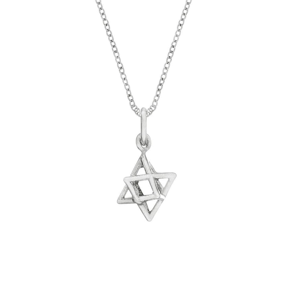 Sterling Silver 3D Star of David Merkabah Necklace