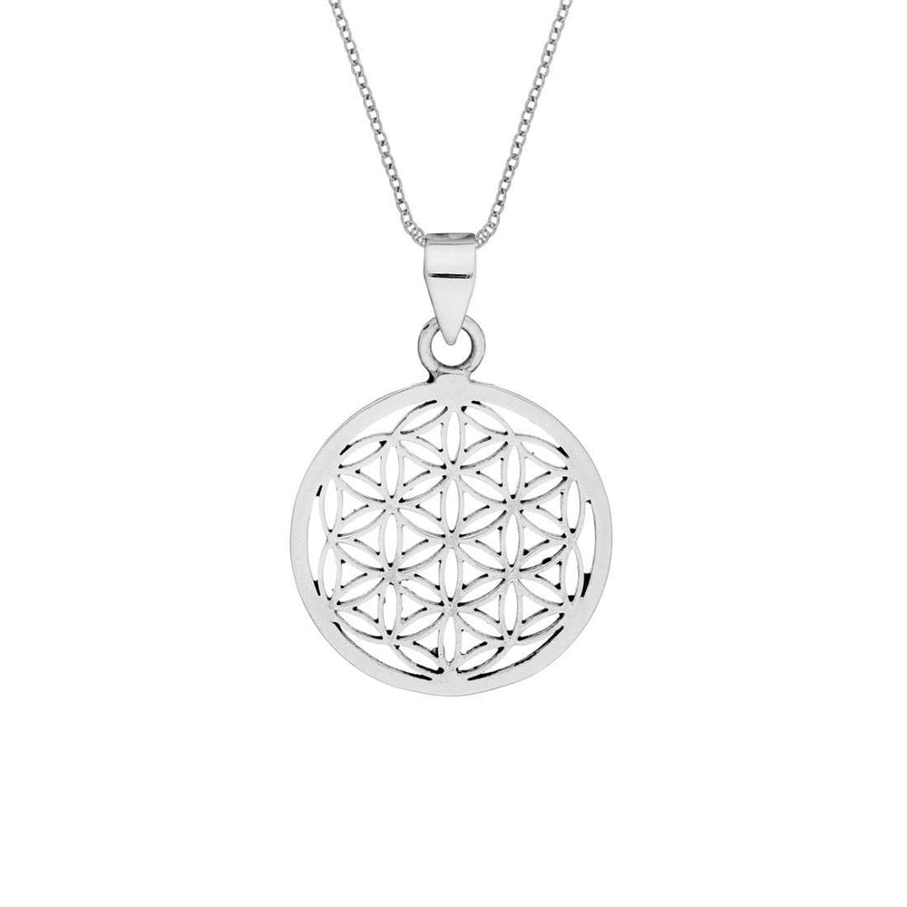 Sterling Silver Round Flower of Life Necklace