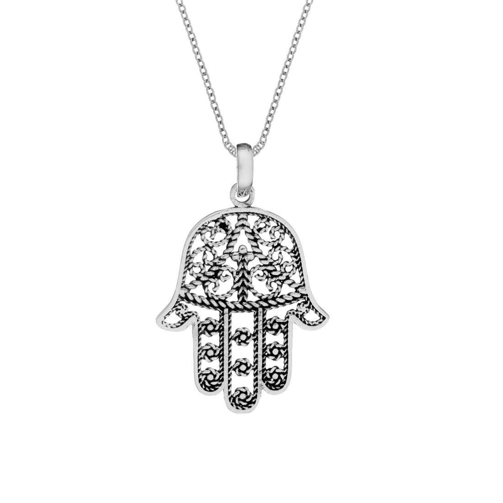 Load image into Gallery viewer, Sterling Silver Filigree Hamsa & Fatima Necklace