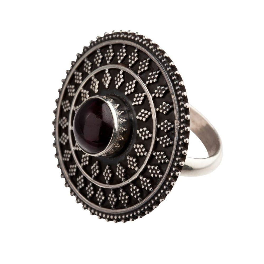 Sterling Silver Garnet Round Tribal Disc Ring - 81stgeneration