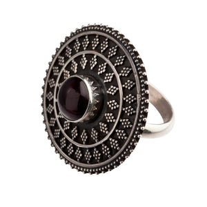 Sterling Silver Garnet Round Tribal Disc Ring