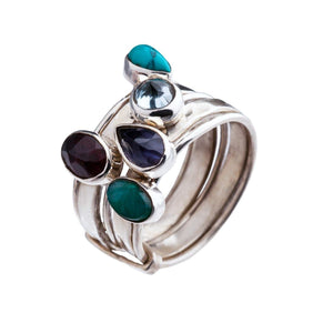 Sterling Silver 5 Mixed Gemstone Stackable Ring - 81stgeneration