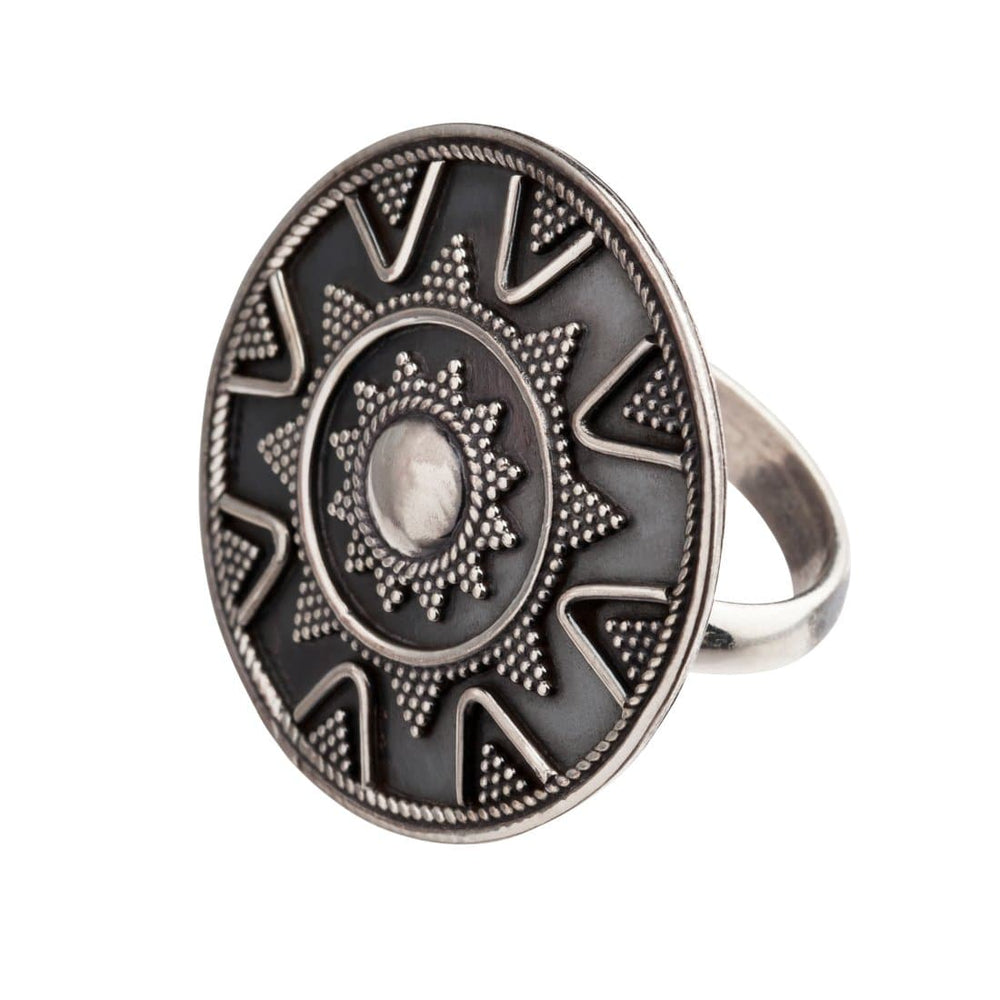 Load image into Gallery viewer, Sterling Silver Round Disc Tribal Dotwork Ring - 81stgeneration