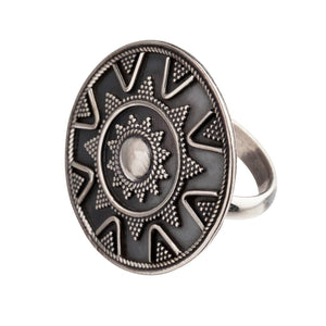 Sterling Silver Round Disc Tribal Dotwork Ring - 81stgeneration