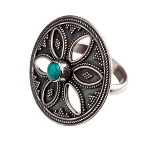 Sterling Silver Turquoise Round Disc Tribal Flower Ring
