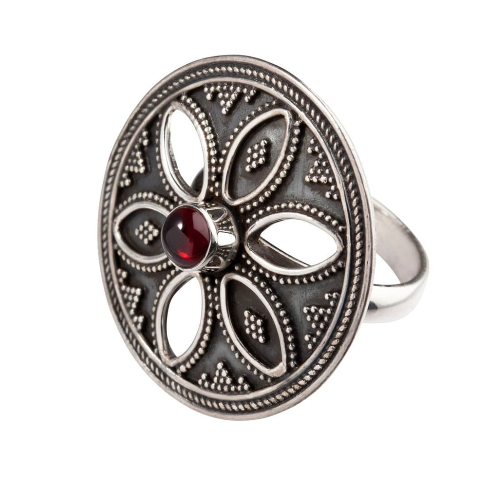 Sterling Silver Garnet Round Disc Tribal Flower Ring