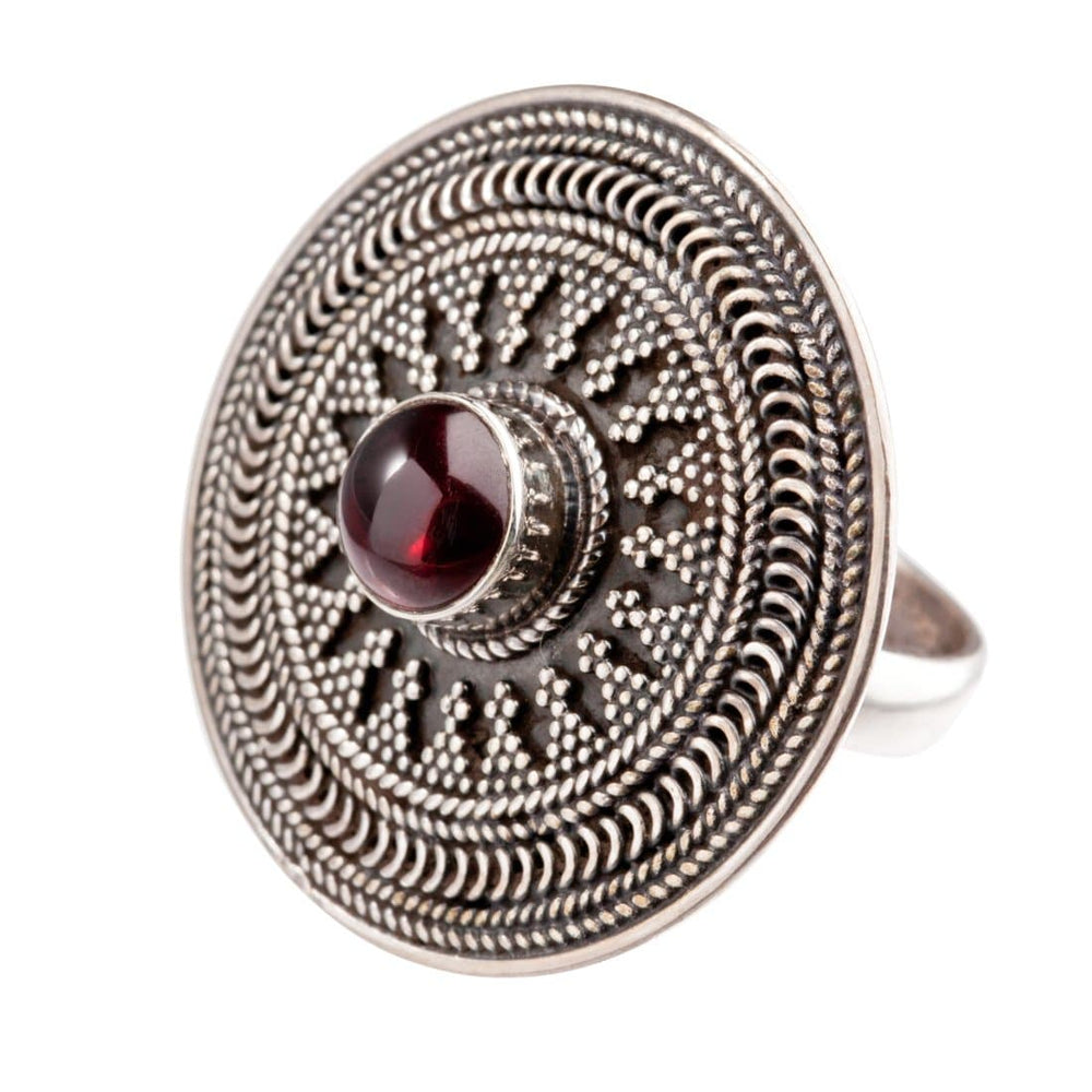 Sterling Silver Garnet Round Disc Tribal Ring