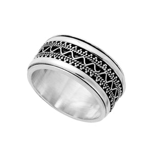 Sterling Silver Chunky Intricate Spinner Ring