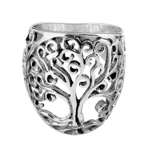 Load image into Gallery viewer, Sterling Silver Filigree Tree of Life Medallion Ring