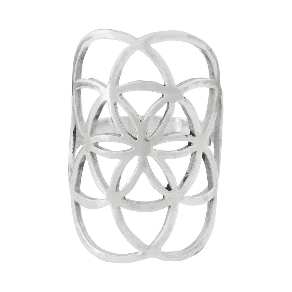 Sterling Silver Seed of Life Half-Finger Ring