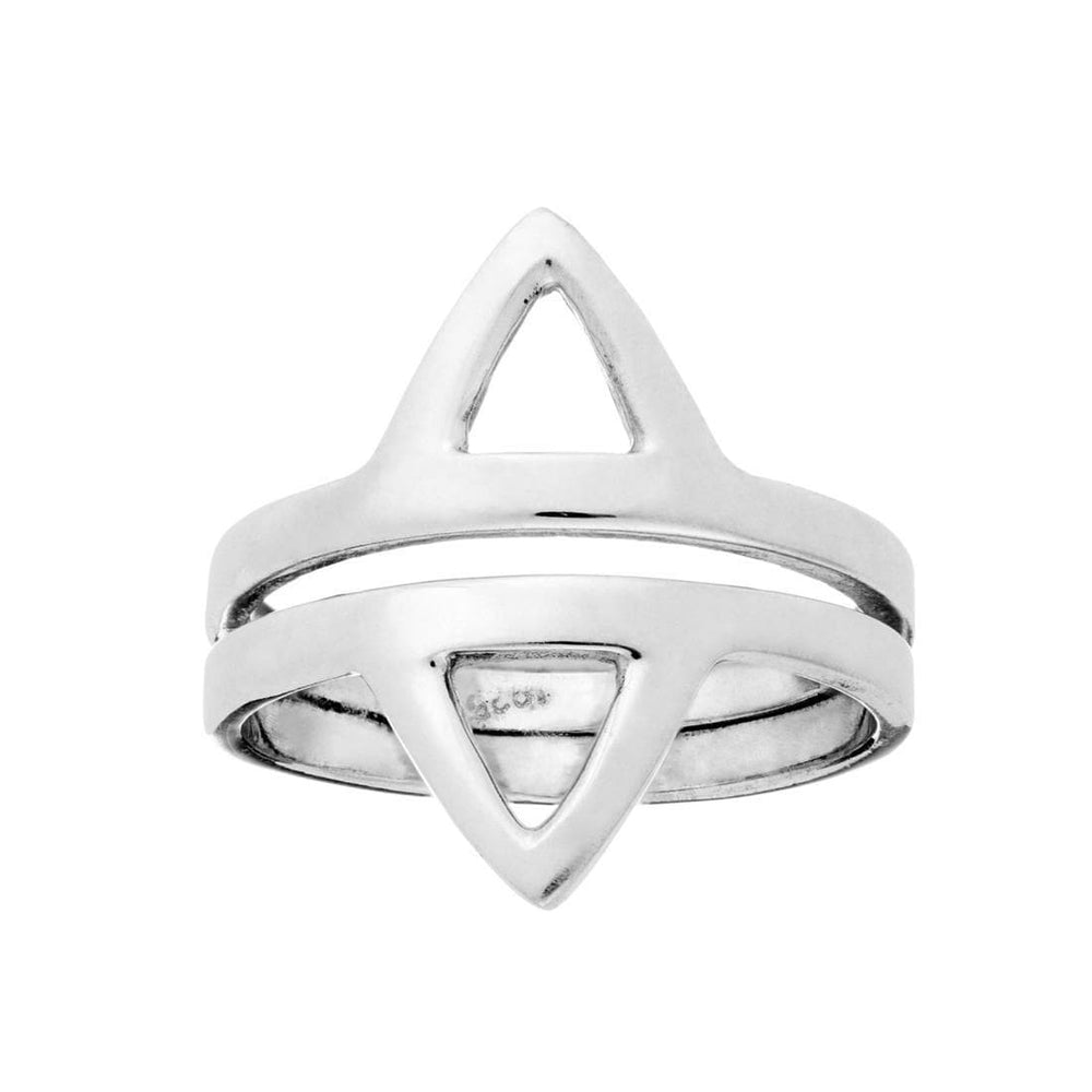 Sterling Silver Double Triangle Ring