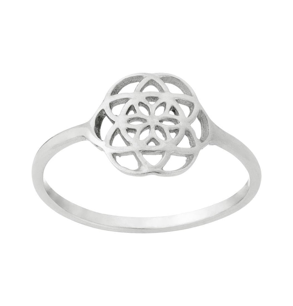 Sterling Silver Seed of Life Pattern Ring