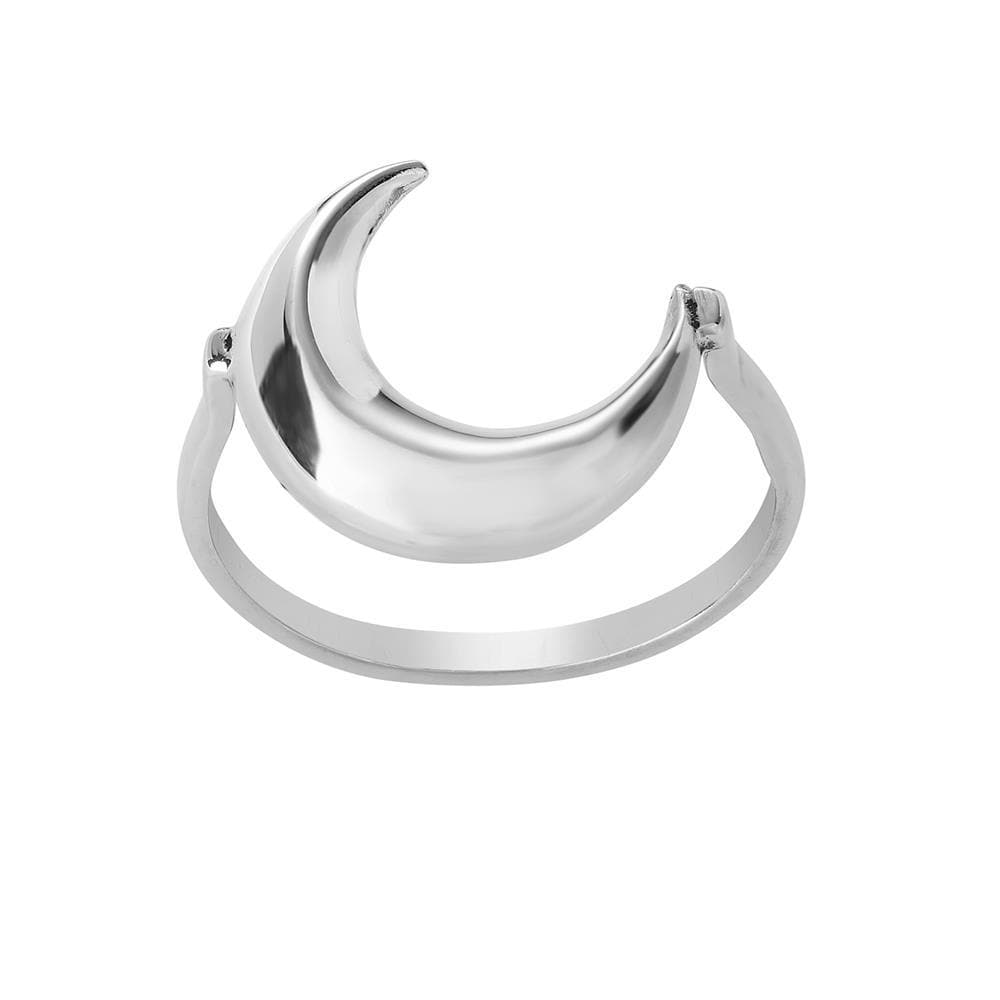 Sterling Silver Upside Down Crescent Moon Ring