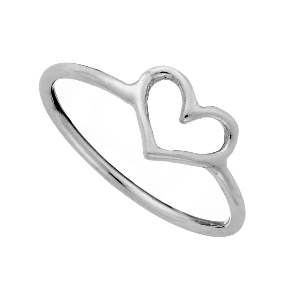 Sterling Silver Small Cut Out Love Heart Ring