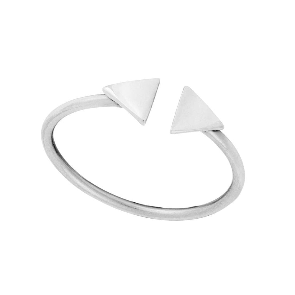 Sterling Silver Double Triangle Adjustable Ring