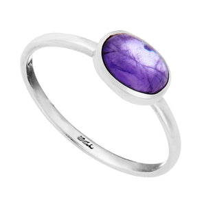 Sterling Silver Amethyst Oval Gemstone Ring