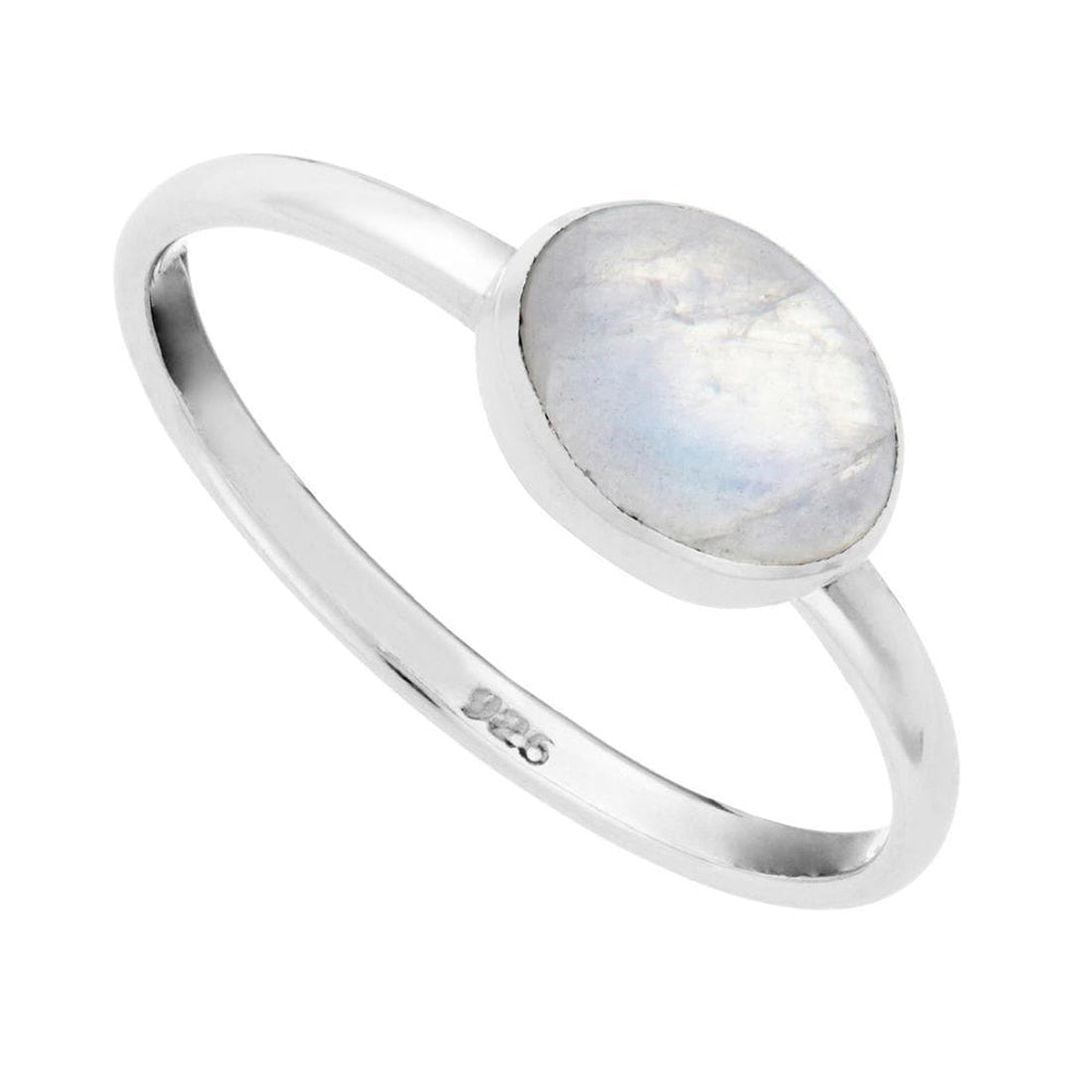 Sterling Silver Moonstone Oval Gemstone Ring
