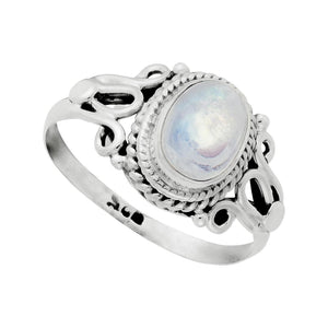Sterling Silver Moonstone Vintage Style Gemstone Ring