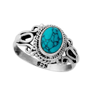 Sterling Silver Turquoise Vintage Style Gemstone Ring