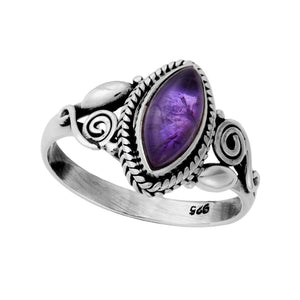 Load image into Gallery viewer, Sterling Silver Amethyst Patterned Gemstone Ring