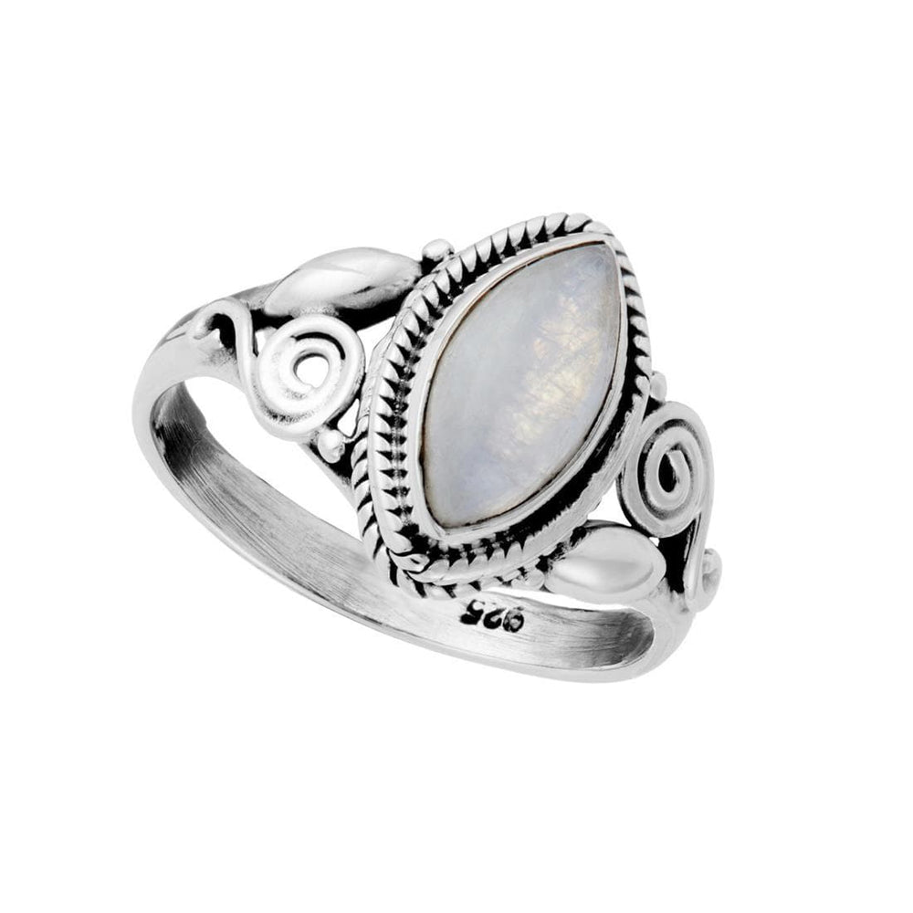 Sterling Silver Moonstone Patterned Gemstone Ring