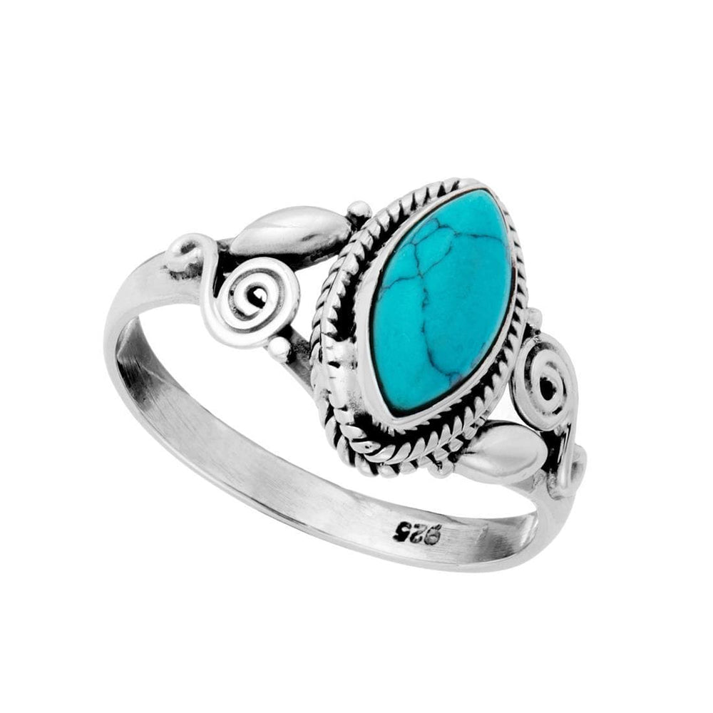 Sterling Silver Turquoise Patterned Gemstone Ring